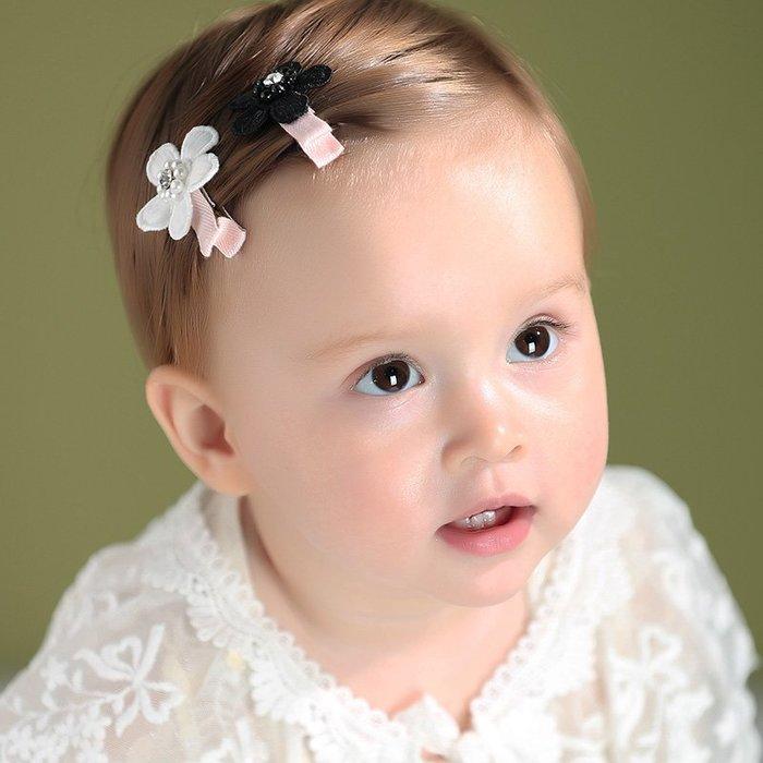 ☆草莓花園☆C169兒童髮夾 一組2入 鑲鑽花朵兒童髮夾全包邊夾  拍照攝影頭飾髮飾