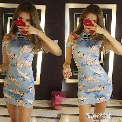 韓版時尚名媛氣質一字領露肩復古印花顯瘦性感開叉旗袍洋裝