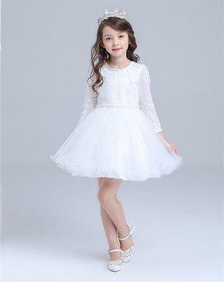 韓版女童蓬蓬 公主裙 公主禮服 畢業演出服 鋼琴演奏花童 白色長袖禮服 洋裝紗裙 還有多款冰雪奇緣