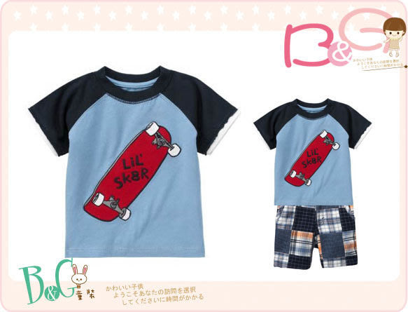 【B& G童裝】正品美國進口GYMBOREE滑板車圖樣藍色短袖上衣12-18mos
