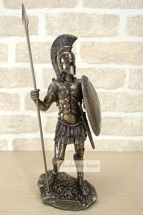 點點蘑菇屋{中古武士擺飾}羅馬藝術雕塑斯巴達戰士拿盾牌長槍 鐵甲武士 全身盔甲 羅馬武士 現貨 免運費