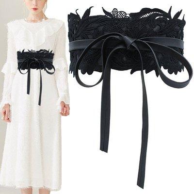 復古花邊蕾絲裝飾綁帶寬版腰帶 【PT006】