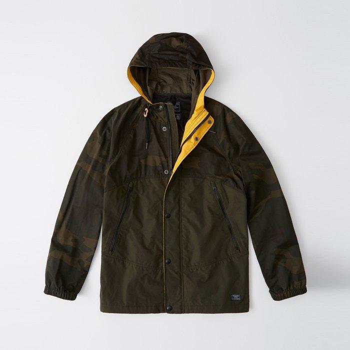 【Abercrombie&Fitch】【A&F】AF男款風衣外套薄款小標拼接迷彩 F04190321-01