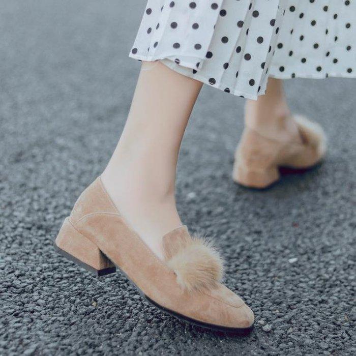 豆豆鞋 秋冬韓版百搭粗跟方頭加絨單鞋女淺口仙女一腳蹬平底毛毛鞋女