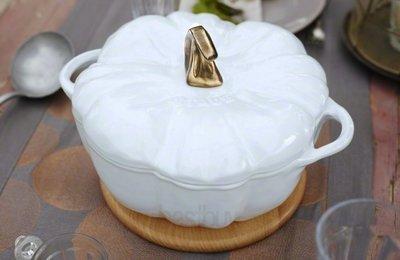 法國 Staub 南瓜鍋 鑄鐵鍋 圓形 湯鍋 燉鍋24cm (白色)  南瓜造型   萬聖節