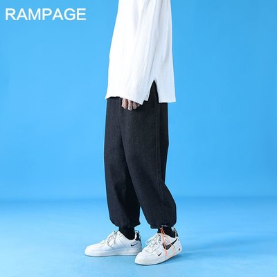 RAMPAGE男士休閑牛仔褲子夏季薄款2021新款潮流寬松百搭束腳長褲#湯姆叔叔的小窩#