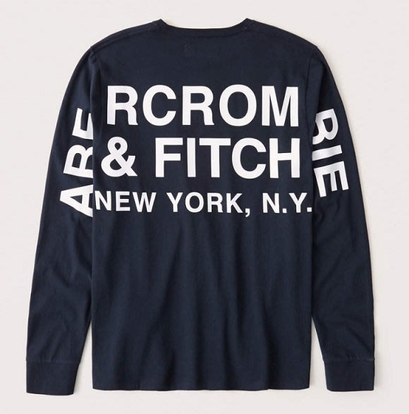 AF Abercrombie & Fitch A&F 麋鹿 胸前後印花LOGO 長T 深藍色