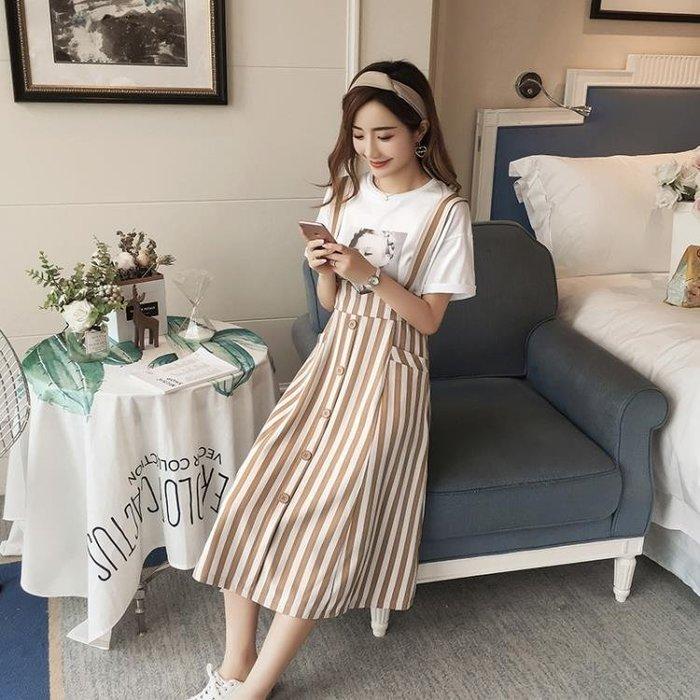 背帶裙夏女兩件套2018新款夏季小清新高腰吊帶連衣裙女外穿中長款