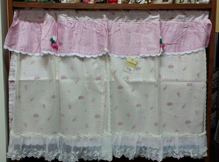 美生活館 全新  鄉村 粉紅玫瑰花 格紋 薄紗蕾絲  短簾  雙層短簾 90×60 cm 店面 居家佈置