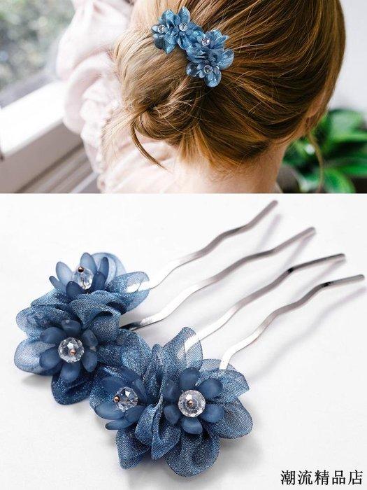 花朵发饰发簪子发卡丸子头盘发器水钻插梳四齿发梳头成人饰品