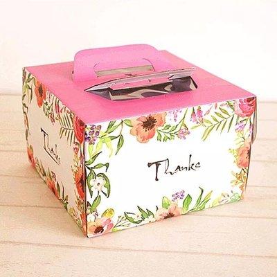 """(含底托)厚款清新花園Thanks 6吋手提蛋糕盒生日西點奶油起士烘焙包裝乳酪戚風彌月六寸6""""水彩彩繪花朵花卉裸蛋糕翻糖"""