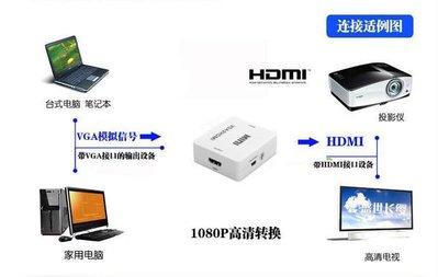VGA轉HDMI 線 高清線轉換器 1080P 轉換頭 電腦 接連 電視 投影機