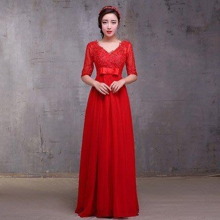 大小姐時尚精品屋~~孕婦可穿红色蕾絲中袖宴會敬酒禮服~3件免郵