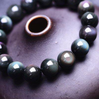 【柴鋪】特選  墨西哥彩虹雙眼黑曜石手鍊  顆顆雙眼   6mm圓珠(G1-3)