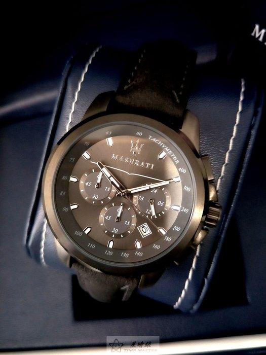 請支持正貨,瑪莎拉蒂手錶MASERATI手錶SUCCESSO款,編號:MA00120,灰色錶面灰色皮革錶帶款
