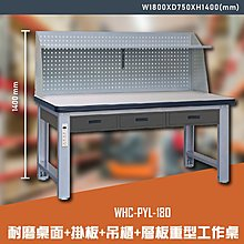 【辦公嚴選】大富WHC-PYL-180 耐磨桌面-掛板-吊櫃-層板重型工作桌 辦公家具 工作桌 零件收納 抽屜櫃
