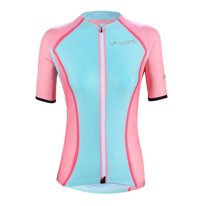 水鑽系列【ILPALADINO】競技型女士短袖車衣 :: 粉紅薄荷馬卡龍