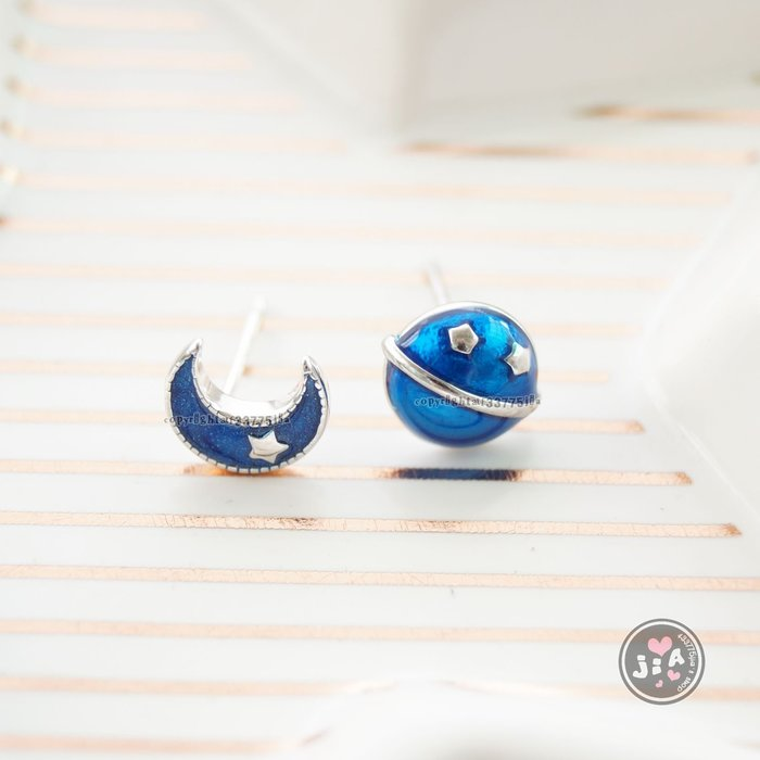 【Jia' s】立體藍星球月亮純銀耳環耳針S925。正生純銀