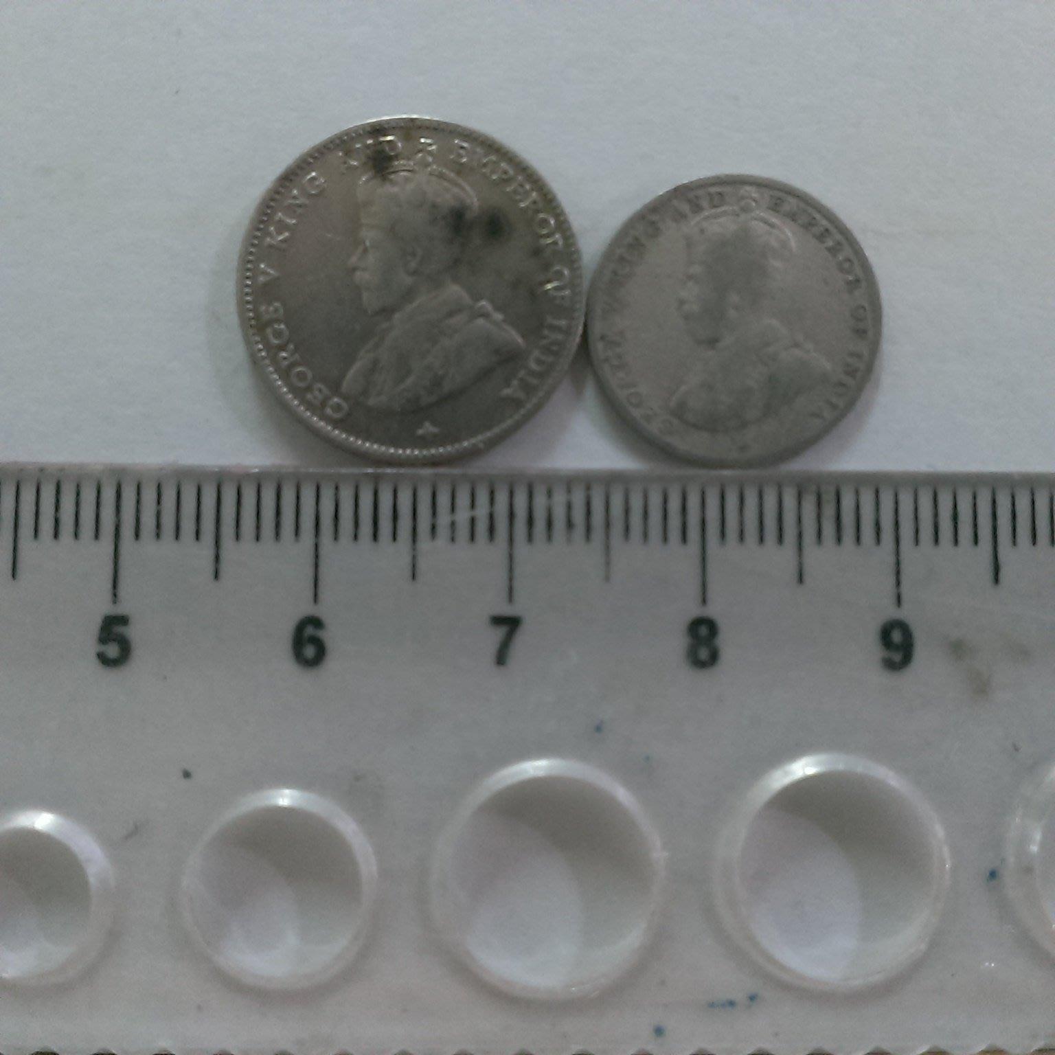 N23--1918年馬來西亞--5.10銀幣 2枚