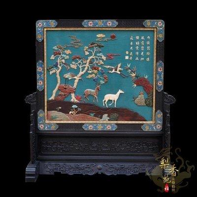聚寶閣 小葉紫檀 百寶鑲嵌 屏風 O2133