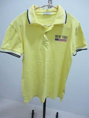 99元起標~NEW MENTALITY~黃色短袖POLO衫~SIZE:XL