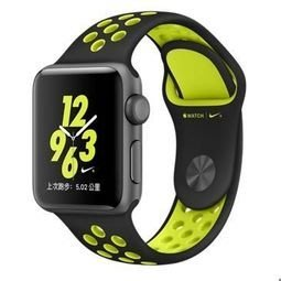 Apple Watch Nike+ MP082 38mm 太空灰色鋁金屬錶殼搭黑色配螢光黃色Nike運動型錶帶