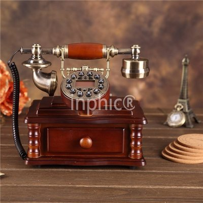INPHIC-全實木時尚電話機歐式復古田園復古家用座機辦公電話固話