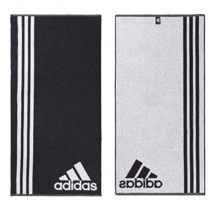 【豬豬老闆】ADIDAS TOWEL 三葉草 運動毛巾 吸汗 雙面 黑白 50x100cm AB8005