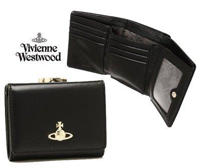 Vivienne Westwood (黑色) 真皮三摺短夾 皮夾 錢包|100%全新正品|特價!