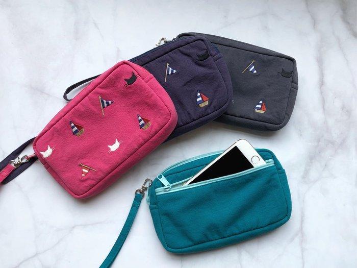 日本卡拉貓~帆船貓咪夾棉手機錢包 萬用包