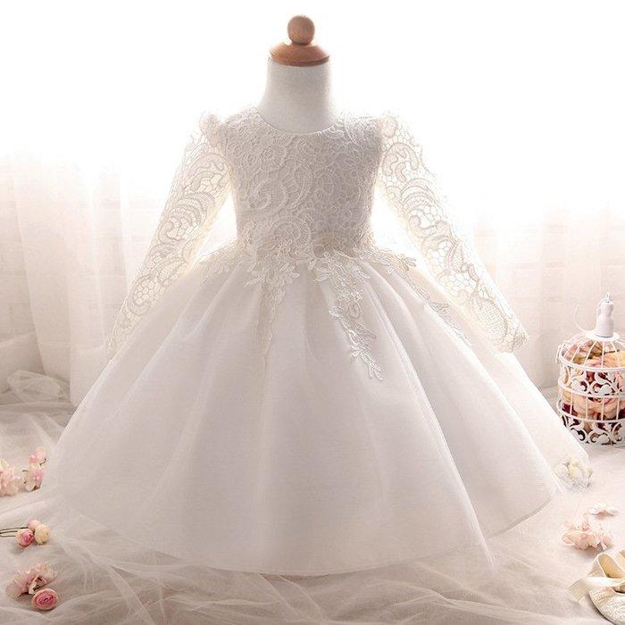 現貨 嬰幼長袖蕾絲周歲生日禮服