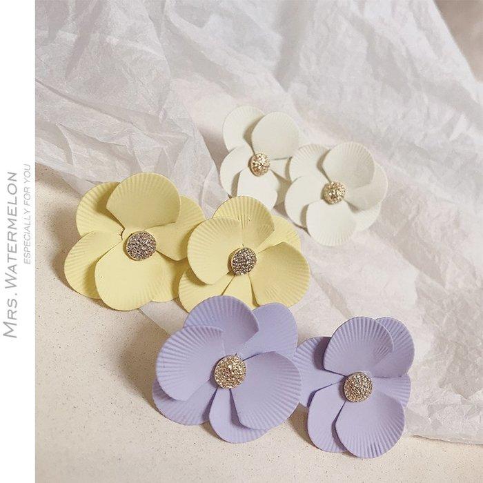 Lissom韓國代購~S925銀針彩色花朵耳釘女2019新款夏季小清新百搭正韓時尚個性耳環