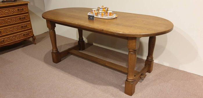【卡卡頌 歐洲跳蚤市場/歐洲古董】法國 厚實  橡木實木 雕刻桌腳 橢圓  餐桌 工作 t0147