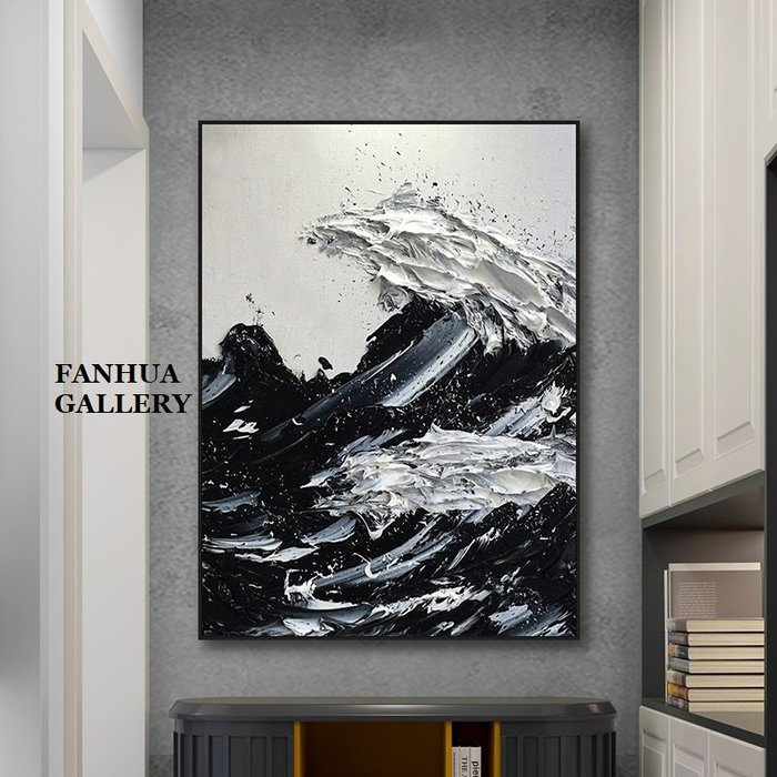 C - R - A - Z - Y - T - O - W - N 純手繪油畫立體筆觸海浪花厚肌理抽象巨幅油畫掛畫住宅商業空間設計師款立體抽象油畫收藏品畫
