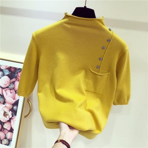 半高領中袖針織衫女2018新款薄款秋裝毛衣套頭打底衫修身短袖上衣