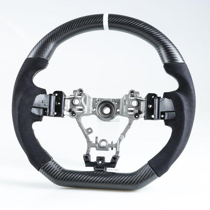 [消光黑碳纖維+麂皮] 方向盤 Subaru Levorg WRX STI用 /白線+白環1cm 鋁合金