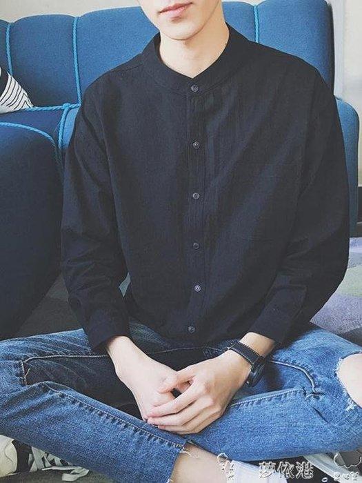 長袖襯衫秋冬季男士的襯衫港風長袖外套韓范潮流黑色立領襯衣