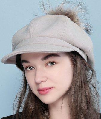 SR 簡約百搭貉子毛求毛帽 毛呢帽 八角帽 帽子 3色