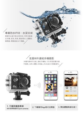 (送16G卡) 【超霸】 速霸C7  4K/1080P  超高 解析度 WiFi  極限 運動 機車防水型 行車記錄器