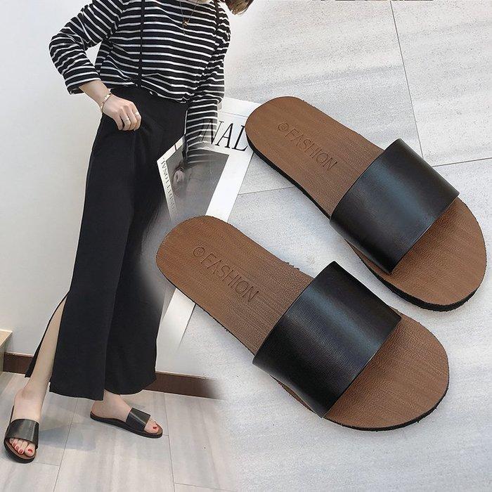 拖鞋 拖鞋女夏2019時尚外穿平底休閒度假學生簡約一字拖室內防滑涼拖女