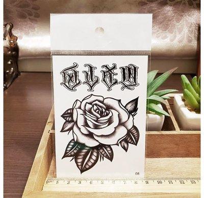 【萌古屋】】玫瑰與英文 - 手背防水紋身貼紙刺青貼紙08 K12