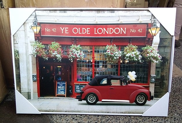 【浪漫349】多款均一價60*40CM 3D帆布畫+led燈 old london 汽車偉士牌機車商店街景屋前 民宿餐廳