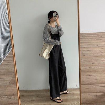 韓國顯瘦顯高連身褲後背抽繩仿天絲休閒減齡薄款吊帶褲