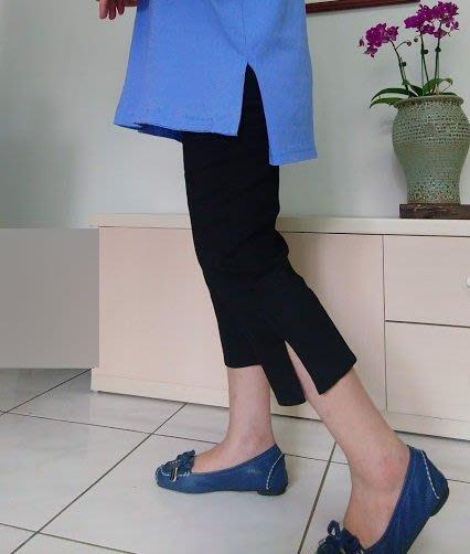 夏季七分褲/原創設計彈性棉麻褲口開叉七分褲(老銀屋)