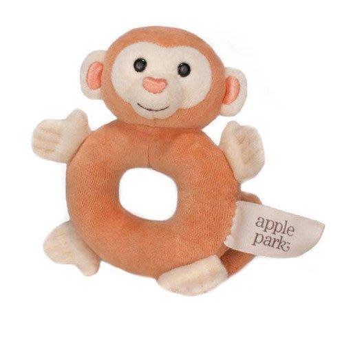 ☆奇奇娃娃屋(RT)☆美國Apple Park品牌,好手感的有機棉手搖鈴啃咬玩具~淺咖啡色小猴~200元