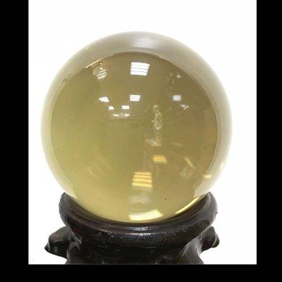 【精藝齋】天然水晶 全美品 天然黃水晶球 附鑑定書。  92mm全美無瑕