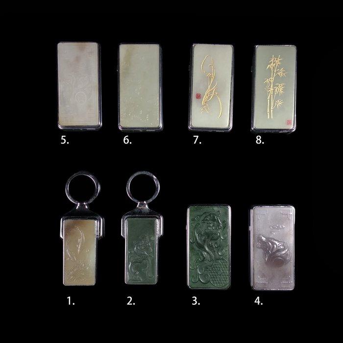 《博古珍藏》鋼材鑲嵌和闐玉充電防風電子點菸打火機.禮物禮盒精品.附充電線.超值回饋.8款