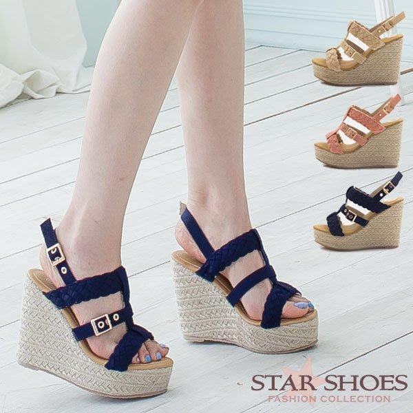 STAR SHOES-魅麗編織造型搭扣羅馬楔型涼鞋#F505