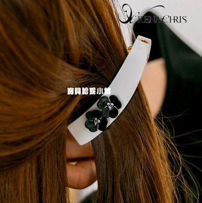 BHI1425-法國品牌RenaChris 施華洛世奇晶鑽貝殼花髮夾 馬尾夾 香蕉夾【韓國製】