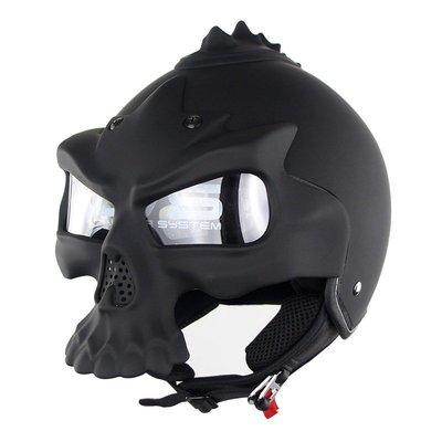 無憂戶外 個性骷髏頭頭盔半盔Soman689 復古雙鏡片DOT安全帽多用哈雷款 PWHY-228